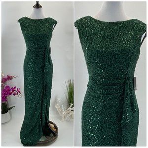 Dress  NWT Emerald Green Sequins Lace Evening Gown